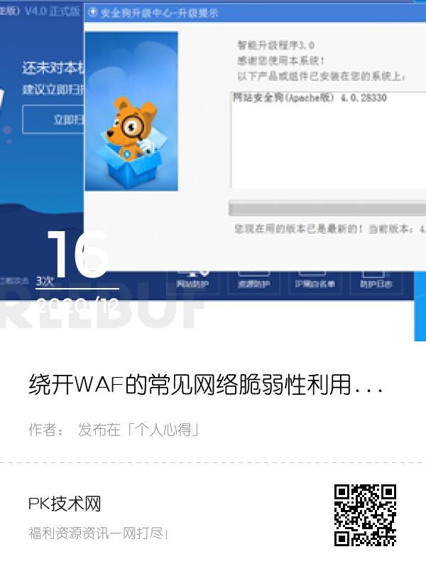 绕开WAF的常见网络脆弱性利用分析